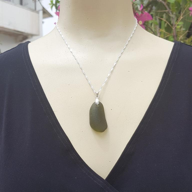 Frosted Sea Glass Necklace in Silver Handmade Jewelry. Olive Green Seaglass Necklace Olive Green Necklace Conch Shell Necklace